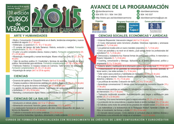 Cursos de verano Universidad Pablo de Olavide. Avance 2015
